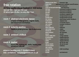 flier for Free Rotation audio-visual festival