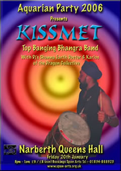 poster for Kissmet gig at Narberth Queens Hall