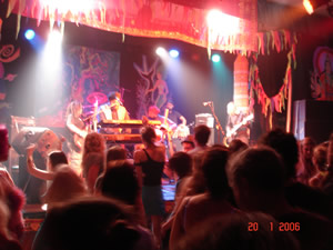 Kissmet on stage at Narberth Queens Hall on 20 January 2006