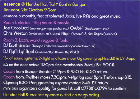 back of flier for Essence at Hendre Hall