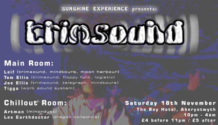 flier for Sunshine Experience at The Bay Hotel, Aberystwyth